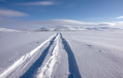 Ski trail  to the northern city of Chukotka. Stock Image