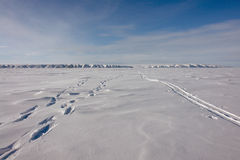 Ski trail to the northern city of Chukotka. Royalty Free Stock Photos