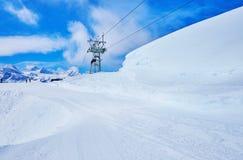 Ski trails on Krippenstein mount, Dachstein massif, Obertraun, Austria. The snowbound slopes of Krippenstein mount of Dachstein mountain range offer superior royalty free stock photo