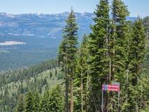 Ski trails marked near the mountain top Royalty Free Stock Photos