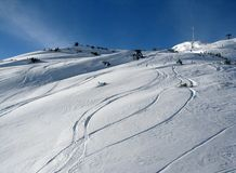 Ski trails on a mountain. At St. Anthon ski resort stock photography