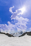 Ski trails off-piste remote mountain Stock Images