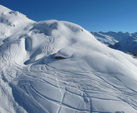 Ski trails in slopes of St Anron. St Anton ski slopes with trails Royalty Free Stock Photography