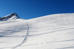 Ski traks in fresh snow Stock Photography