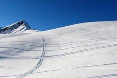 Ski traks im frischen Schnee Stockfotografie