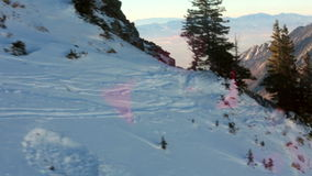 Ski Tram Ride Down the Mountain View of Valley stock video footage