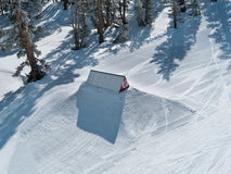 Ski trampoline at a terrain park. Heavenly South Lake Tahoe California. Fresh groomed snow in morning light Royalty Free Stock Image
