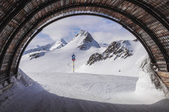 Ski tunnel. Tiefenbach Glacier in Alps seen from the ski tunnel in Solden ski resort, Austria royalty free stock photo