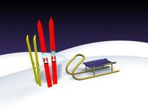 Ski und Schlitten Lizenzfreies Stockfoto