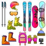 Ski- und Snowboardfarbausrüstungsvektorlinie Ikonensatz Lizenzfreie Stockfotos