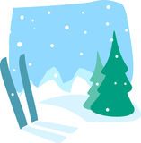Ski vacation. Vector Illustration of a snow background Stock Images