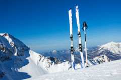 Ski vacation panorama on top of the mountain Royalty Free Stock Image