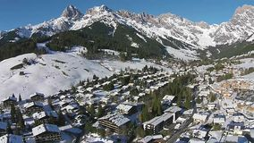 Ski Valley in the alps Salzburg Austria, aerial view stock footage