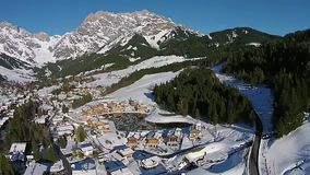 Ski Valley in the alps Salzburg Austria, aerial view stock video footage