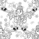 Ski van de Kerstmissneeuwman van de Zentanglekrabbel de hand getrokken Royalty-vrije Stock Afbeelding