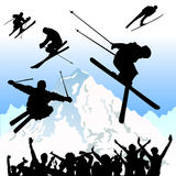 Ski vector. Set of ski and mountain vector Stock Images
