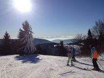 Ski view from top. Sunny day on skis in the woods with lots of snow Royalty Free Stock Photos