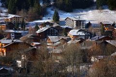 The ski village of Morzine in the French Alps. Winter scene of the ski village of Morzine in the French Alps Royalty Free Stock Photo