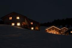 Ski village at night Stock Photo