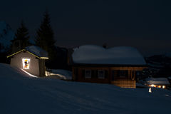 Ski village at night. High on the mountains in Montafon, Austria Stock Images