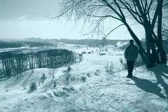 Ski walk in park at a clear sunny winter day Stock Photography