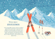 Ski winter mountain landscape card. Ski winter mountain landscape retro invitation card frame vector illustration Stock Images