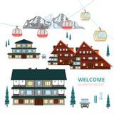 Ski Winter Resort Pueblo de madera de las casas Montaña del vector Fotos de archivo libres de regalías