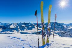 Skiing with amazing view of swiss famous mountains in beautiful winter snow Mt Fort. The matterhorn and the Dent d`Herens. In th royalty free stock photos