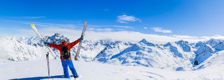 Ski in winter season, mountains and ski touring equipments on th stock images