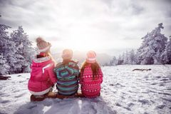 Ski, winter, snow and fun - family enjoying winter stock images