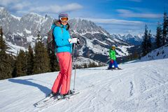 Ski, winter, snow, skiers Stock Photos