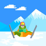 Ski, winter, snow, skiers and fun - family enjoying winter vacat. Portrait of child skier having fun in the snow. Flat vector Cheerful baby sitting and resting Royalty Free Stock Images
