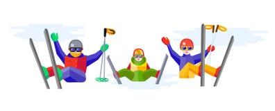 Ski, winter, snow, skiers and fun - family enjoying winter vacat Royalty Free Stock Images