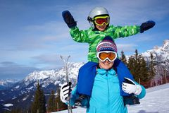 Ski, winter, snow, skiers, sun and fun Royalty Free Stock Photos
