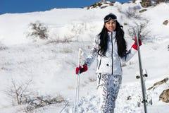 Ski Woman on Mountain Resort Looking at Camera Stock Image