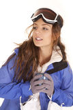Ski woman mug looking side Royalty Free Stock Photos