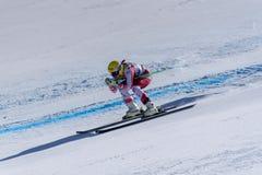 SKI-WORLD-FIAUT Cornelia Huetter participa nas senhoras corre para baixo para o racNALS-DISIPLINA-SEXO-PRUEBA de Ladie Downhill d imagem de stock