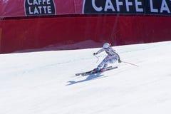 SKI-WORLD-FIGER Michaela Wenig participa en las señoras cuesta abajo corre para el oNALS-DISIPLINA-SEXO-PRUEBA de la raza de Ladi imagenes de archivo