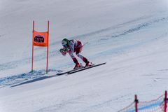 AUT Mirjam Puchner takes part in the Ladies Downhill run for the Woman Ladie Downhill race of the FIS Alpine Ski World Cup Finals. At Soldeu-El Tarter in stock photo