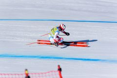 SKI-WORLD-FINALS-DISIPLINA-SEXO-PRUEBA. SUI Mauro Caviezel takes part in the Men´s Downhill run for the Men´s Downhill race of the FIS Alpine Ski World Cup royalty free stock photography