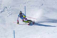 SKI-WORLD-FINALS- ESLALOM - el FIS Ski World Cup Finals alpino de MENÂ 2018/2019 en el Soldeu-EL más agrio en Andorra imágenes de archivo libres de regalías