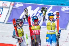 SKI-WORLD-FINALS-GIANT slalom - kobiety zdjęcia royalty free