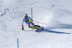 SKI-WORLD-FINALS-, SLALOM - FIS alpiner Ski World Cup Finals MENÂS 2018/2019 an Soldeu-EL schärfer in Andorra lizenzfreie stockbilder