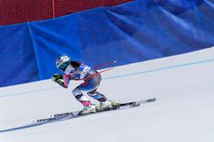 SKI-WORLD-LIE Tina Weirather participa nas senhoras corre para baixo para o raceFINALS-DISIPLINA-SEXO-PRUEBA de Ladie Downhill da fotos de stock royalty free