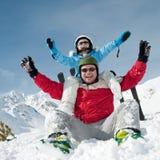 Ski, zon en pret Royalty-vrije Stock Afbeeldingen