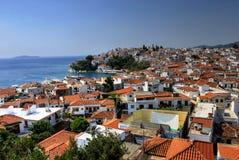 Skiathos端口和城市,希腊 库存图片