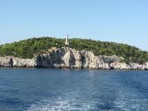 Island in the Aegean Sea. Skiathos became an important shipbuilding centre in the Aegean due to the abundance of pine forests on the island. The pine woods of royalty free stock photography