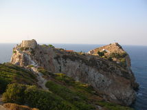Skiathos Castle. View of the ruins of the old castle in Skiathos-Greece Stock Photos