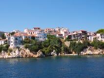 Skiathos, Egeïsch Grieks Eiland, Blauwe Overzees en Hemel stock afbeeldingen