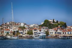 Skiathos, Greece - August 17, 2017: Panoramic view over the port Royalty Free Stock Image